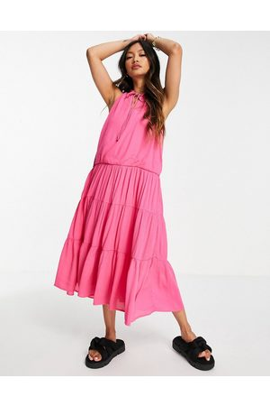 Y.A.S Midi sleeveless dress with tie neck and tiered skirt in