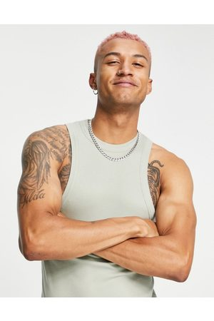 ASOS Men Camisoles - Muscle fit rib vest with racer neck in washed khaki