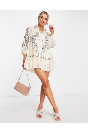 ASOS Soft mini smock shirt dress with embroidery in -Neutral