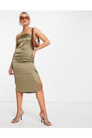 River Island Women Bodycon Dresses - Satin bodycon sleeveless midi dress in khaki