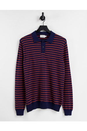 Topman Men Polo Shirts - Knitted stripe polo in navy and orange