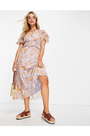 ASOS Puff sleeve shirred pleated midi dress in floral print-Multi