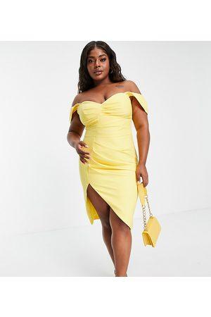 Lavish Alice Women Midi Dresses - Pleated bardot midi dress in lemon