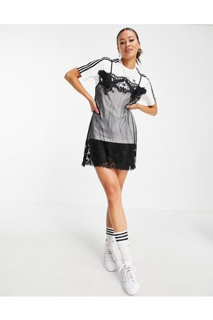 adidas Women Casual Dresses - X Dry Clean Only logo t-shirt with laxe slip dress overlay in and white