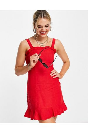 & OTHER STORIES Linen square neck mini dress in red