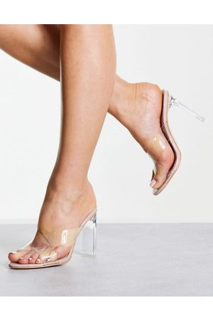 Public Desire Victory cross strap heeled mules in clear