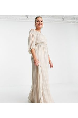 ASOS Tall ASOS DESIGN Tall Off shoulder maxi dress with blouson sleeve in self stripe in stone-Neutral