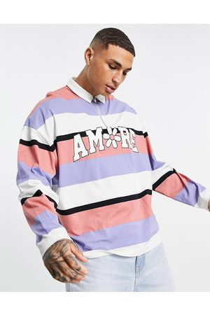 ASOS DESIGN Oversized long sleeve striped polo shirt with badge print-Multi