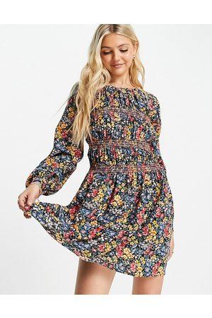 ASOS Long sleeve shirred mini dress in black floral print-Multi