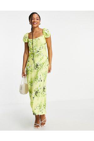 ASOS Women Printed Dresses - Corset detail cap sleeve midi dress with split in zesty floral print-Multi