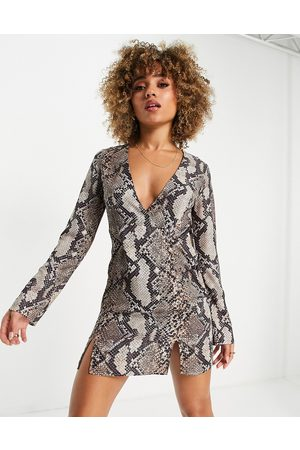 ASOS DESIGN Button side mini dress with splits in snake print-Multi