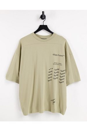 ASOS Dark Future Oversized t-shirt in heavyweight jersey with multi prints in neutral