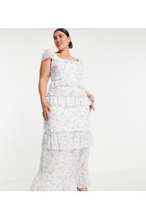 Missguided Plus Frill detail maxi dress in