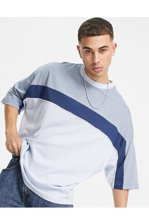 ASOS Oversized t-shirt in blue and grey colour block-Multi