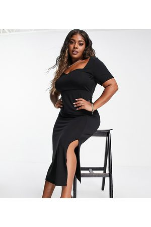 ASOS Curve sweetheart neck ribbed maxi dress in