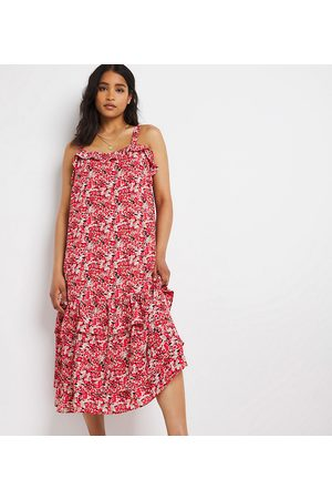 Simply Be Tiered sundress in red ditsy floral-Multi