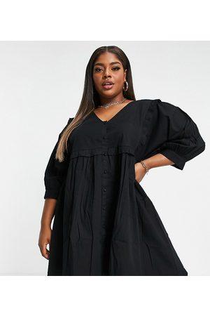 ASOS Women Casual Dresses - ASOS DESIGN Curve frill v neck button through mini smock dress in