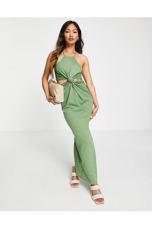 ASOS Racer cut out knot maxi dress in olive