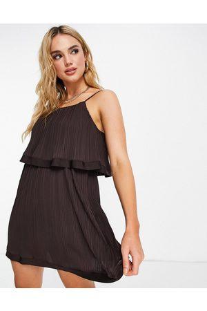 River Island Pleated layered mini dress in