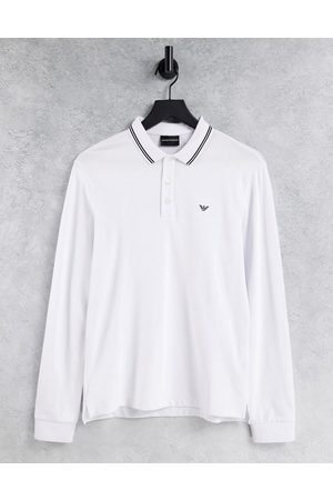 Emporio Armani Slim fit twin tipped long sleeve polo in