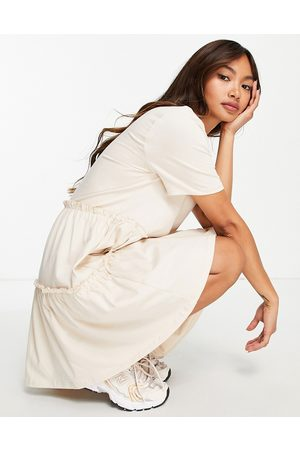 River Island Tiered smock t-shirt dress with pocket in -Neutral