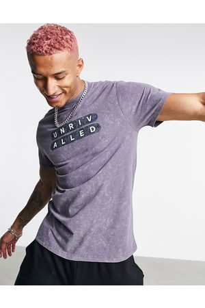ASOS Unrvlld Spply Standard t-shirt with chest logo print in charcoal stike wash