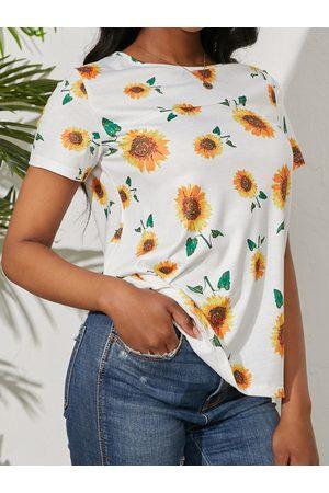 YOINS Random Sunflower Print Crew Neck Short Sleeves Tee