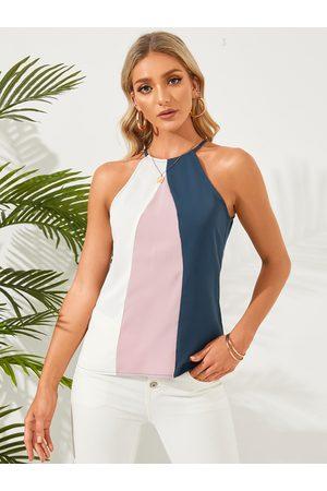 YOINS Women Halterneck Tops - Color Block Patchwork Halter Cami