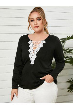 YOINS Women Long Sleeve - Plus Size Criss-Cross Patchwork Design Long Sleeves Tee
