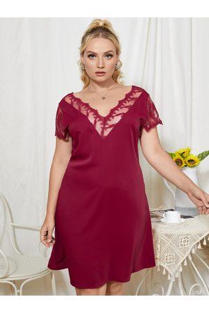 YOINS Women Midi Dresses - Plus Size Mesh Patchwork Design Short Sleeves Dress