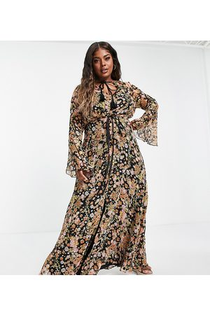 ASOS Curve Women Printed Dresses - ASOS DESIGN Curve ditsy floral maxi dress with flared cuff and tassle detail