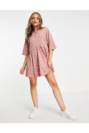 ASOS DESIGN Women Casual Dresses - Oversized mini smock dress with dropped waist in rose and white spot