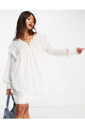 ASOS Women Casual Dresses - Shirred smock mini dress with lace inserts in