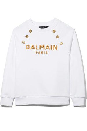 Balmain Logo-embroidered cotton sweatshirt