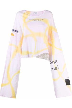 Collina Strada Women Long Sleeve - Rhinestone fringe-trimmed cotton T-shirt