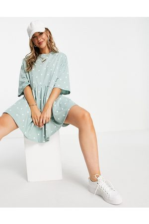 ASOS Women Casual Dresses - Oversized mini smock dress with dropped waist in sage and white spot