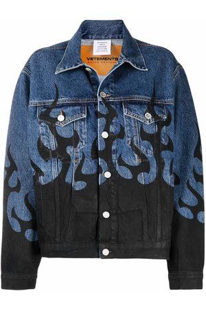 Vetements Women Denim Jackets - Flame printed denim jacket