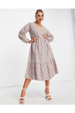 Glamorous Women Casual Dresses - Midi wrap dress in ditsy cherry print-Multi