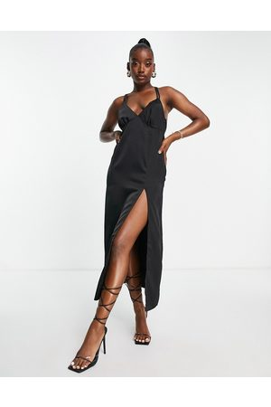 In The Style Women Maxi Dresses - X Yasmin Chanel satin maxi dress with thigh split in