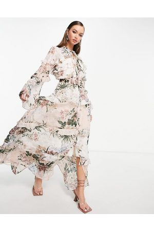 ASOS Women Printed Dresses - Mixed print floral maxi dress on jacquard base with button front detail-Multi