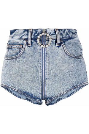 Alessandra Rich Women Shorts - Crystal-embellished zip-pull denim shorts