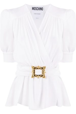 Moschino Women Blouses - Wrap-style belted blouse