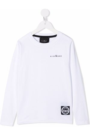 John Richmond Junior Boys Long Sleeve - Logo print long sleeved T-shirt