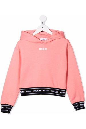 Msgm Girls Hoodies - Logo long-sleeve hoodie