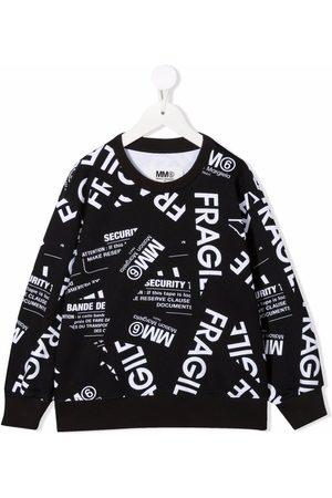 MM6 KIDS Fragile-print cotton sweatshirt