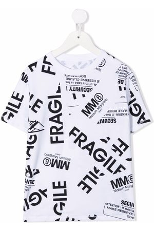 MM6 KIDS Fragile-print stretch-cotton T-shirt
