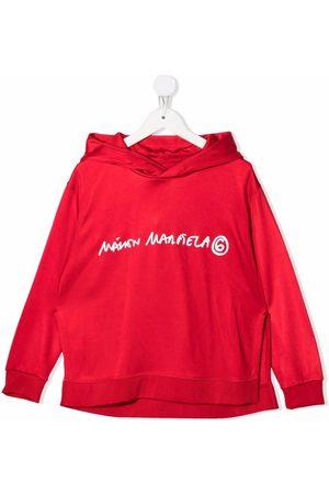 MM6 KIDS Logo-print rib-trimmed hoodie