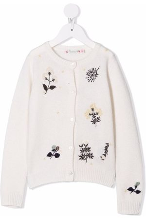 BONPOINT Boys Cardigans - Floral-embroidered wool cardigan