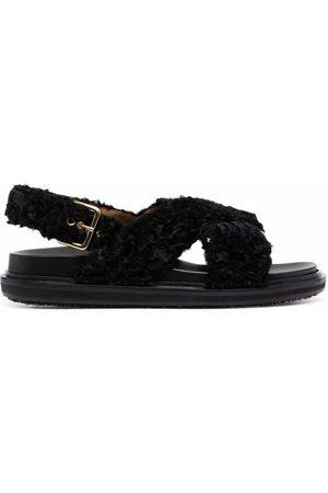 Marni Women Sandals - Fussbett faux-shearling sandals