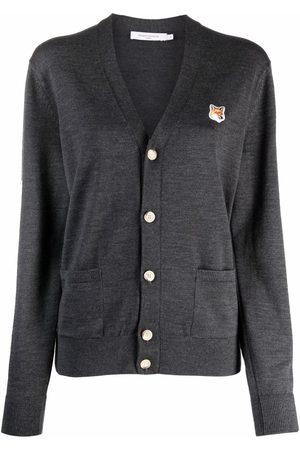 Maison Kitsuné Fox-patch wool cardigan